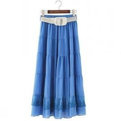 JVL - Lace-Trim Tiered Belted Long Skirt