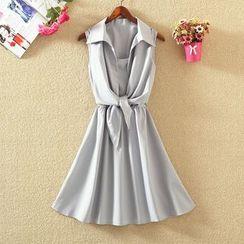 elina sea - Sleeveless Mock Two-Piece A-Line Dress