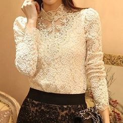 Lovebirds - Long-Sleeve Paneled Lace Top