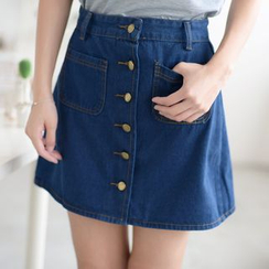 Octavia - Buttoned Denim Mini Skirt