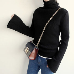 NANING9 - Turtle-Neck Bell-Sleeve Sweater