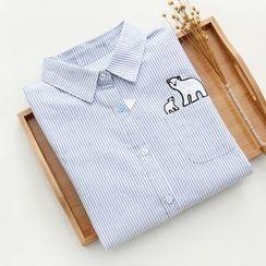 Fashion Street - Polar Bear Pinstripe Long-Sleeve Blouse
