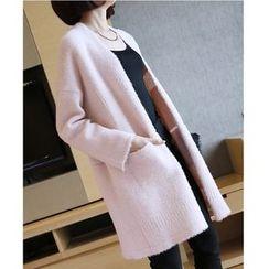 YIDIYU - Plain Long Furry Cardigan
