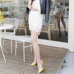 JVLLY - Lace-Overlay Mini Pencil Skirt