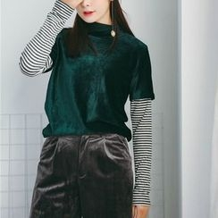 SUYISODA - Striped Mock Two-Piece Long-Sleeve T-Shirt