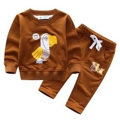 Endymion - Kids Set: Bird Print Pullover + Drawstring Pants