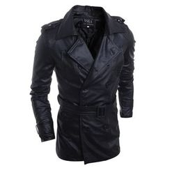 Hansel - Faux Leather Double Breasted Coat