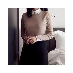 MASoeur - Contrast-Collar Wool Blend Sweater