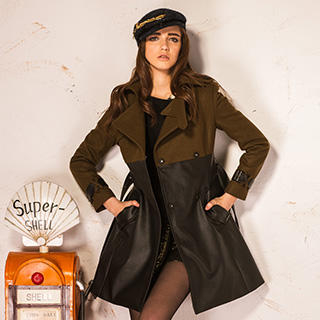 I-DOU - Faux Leather-Panel Belted Coat
