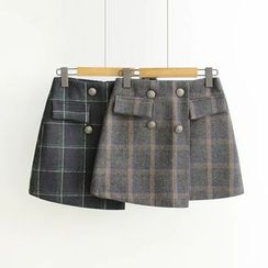 Angel Love - Double Breasted Plaid Skirt