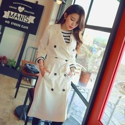 WITH IPUN - Double-Buttoned Trench Coat
