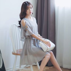 Deedlit - Mock Two-Piece Frill Short-Sleeve Off-Shoulder Plain Dress