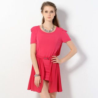 YesStyle Z - Short-Sleeved Chiffon Panel Dress