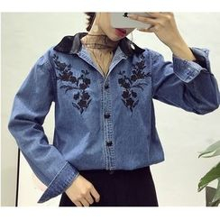 Octavia - Contrast Collar Floral Embroidered Denim Shirt