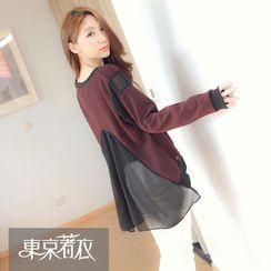 Tokyo Fashion - Chiffon-Panel Dip-Back Pullover