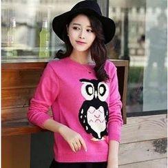 Soft Luxe - Set: Owl Pattern Sweater + A-Line Skirt