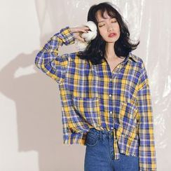Porta - Plaid Long-Sleeve Blouse