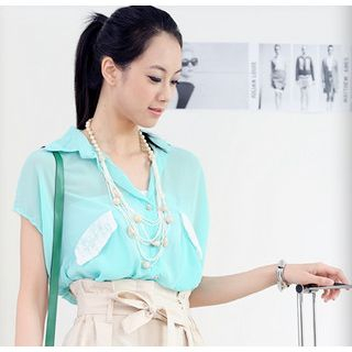 59 Seconds - Lace Yoke Chiffon Shirt