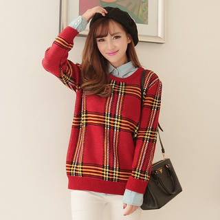 JK2 - Long-Sleeve Plaid Sweater