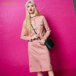 ELF SACK - Set: Buttoned Cropped Jacket + Slit-Front Skirt