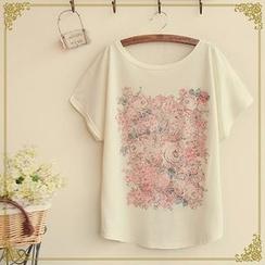 Fairyland - Short-Sleeve Rose Print T-Shirt