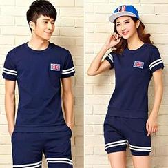Lovebirds - Couple Set: Short-Sleeve Printed T-Shirt + Shorts