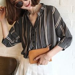 Moon City - Band-Collar Striped Blouse