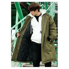HOTBOOM - Hooded Flap-Pocket Long Parka