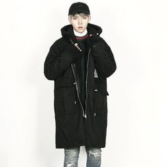 Rememberclick - Wool-Blend Hoodie Long Jacket