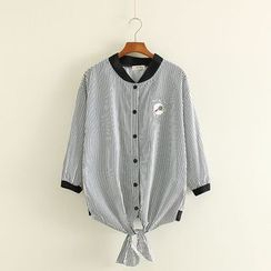 Mushi - Embroidered Striped Tie Waist Baseball Jacket