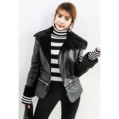 INSTYLEFIT - Diagonal-Zip Faux-Shearling Jacket