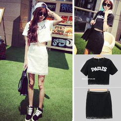 QZ Lady - Set: Lettering Lace Overlay Crop Top + Mini Skirt