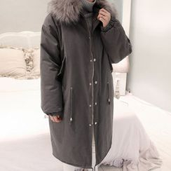 NANING9 - Faux-Fur Trim Hooded Coat
