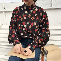Dute - Floral Print Mock Neck Long Sleeve Top
