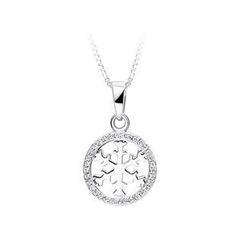BELEC - 925 Sterling Silver Snowflake Pendant with White Cubic Zircon and Necklace