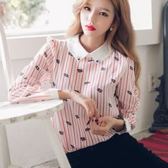 Dowisi - Printed Striped Long Sleeve Blouse