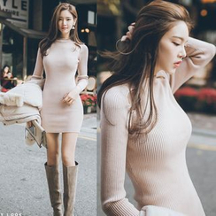 Clospace - Long-Sleeve Knit Sheath Dress