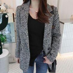 Seoul Fashion - Wool-Blend Single-Breasted Jacket