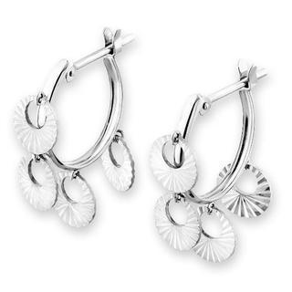 MaBelle - 14K White Gold Two Tones Flower Drop Hoop Earrings, Women Girl Jewelry in Gift Box