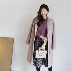 Hello sweety - Wool Blend Zip-Up Coat