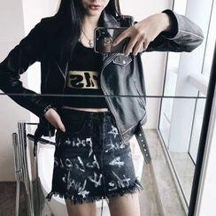 THE XIBI - Printed Fray Hem Denim Skirt