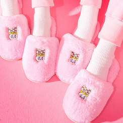 chuu - Bunny-Appliqué Faux-Fur Slippers