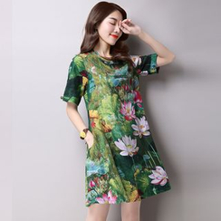 GLIT - Mandarin Collar Floral Printed Short Sleeve Dress