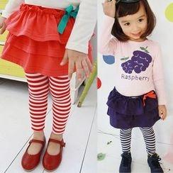 三零九班 - 兒童假兩件裙條紋內搭褲