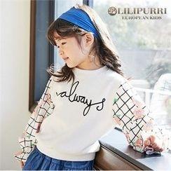 LILIPURRI - Girls Lettering Check-Sleeve Pullover