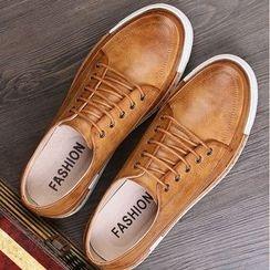 Van Camel - Faux Leather Lace-Up Shoes
