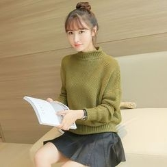 千色衣站 - 純色高領毛衣
