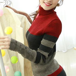 Dodostyle - Turtle-Neck Color-Block Knit Top