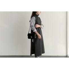 UPTOWNHOLIC - Mock-Neck Slit-Side Long Vest
