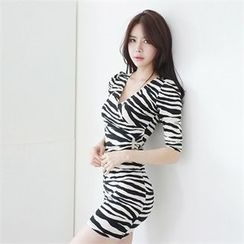 clubber - Zebra-Pattern Wrap-Front Dress